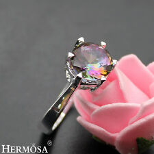 Rainbow Prom Round Mystical Fire Topaz 925 Sterling Silver Ring Size 7