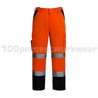 Aqua Orange High Visibility Polycotton Mens Cargo Work Trousers Pants Hi Viz Vis
