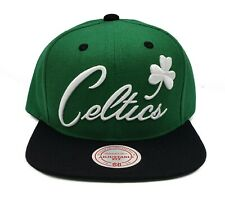 Boston Celtics Mitchell & Ness Word Mark Script Adjustable Snapback Hat Cap NBA