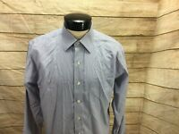 Brooks Brothers Button Front Shirt Non-Iron Mens Large 16 1/2 X 35 Slim Fit Blue