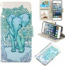 Apple iPod Touch 5 6 Case, PU Leather Wallet Flip Case Card Slots Stand Elephant