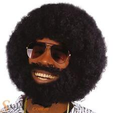 NOIR HOMMES Afro PERRUQUE & Barbe Lionel pilosité faciale années 1970 DISCO