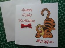 Personalised Hand made 6 inch sq Tigger any age Birthday/all occasion card
