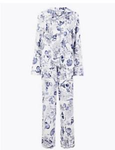 M&S COLLECTION BLUE MIX COTTON MODAL COOL COMFORT SHELL PYJAMA SET
