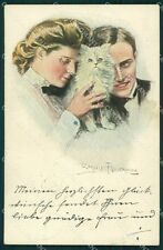 Clarence Underwood and White Cat Lady MM Vienne 388 postcard cartolina QT6844