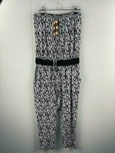 Jeanswest Womens Black White Beaded Elastic Top Jump Suit Romper Size Small