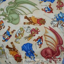 BonEful Fabric FQ Cotton Quilt Cream Blue Medieval Owl Horse Dragon Magic Wizard