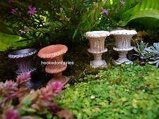 Planter Urn set of 4 w pick Miniature Garden Fairy Gnome Hobbit In Outdoor Mr