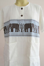 Elephant Logging Hand Stich Lanna Northern Thai T Shirt L LE08