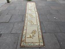 Antiguo Hecho A Mano Art Decó Oriental Corredor Largo Lana Marrón Chino 364x70cm