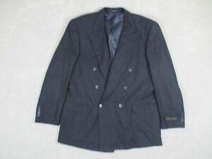 Jones New York Men's 44L Sports Coat Blazer Black Wool Plaid Double Breasted