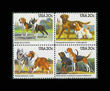 US, Sc #2101a, MNH, 1984, Dogs, Beagle, Terrier, Spaniel, block of four, 8TD