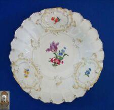 Ø 30 cm Prunkteller Meissen 1. Wahl Teller Porzellan Relief handbemalt Blumen