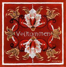 """Norwegian Tile Trivet  """"Velkommen""""  Welcome   6"""" X 6""""  Rosemaling by M D Larson"""
