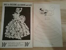 Vintage Dol-Lee-Dolls Craft Kit Ribbon Paper Doll 1951 New in Pkg w/Instructions