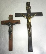 Antike 2 Stück Inri Jesus Kreuz Holzkreuz Jesuskreuz Holz Kruzifix  ~1930