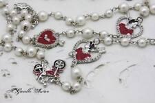 Collana Lunga Tono Argento Smalti Rosso Cuore Moto Perle Cristalli Brillanti