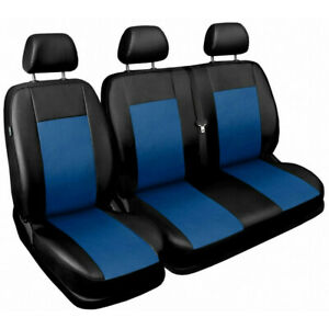 Van seat covers fit Citroen Relay 2+1  black / blue ECO LEATHER
