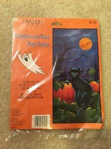 "Vintage Carlton Cards Halloween Door Poster Pumpkins and Paws Black Cat 36""x 63"""