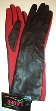 "Ladies 13"" Genuine Leather & Wool Gloves,S/M, Black/Red"
