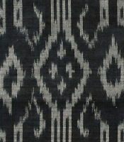 "Gothic Crosses Silk Cotton Blend Black & White Ikat Hand Woven Soft Fabric 44"""