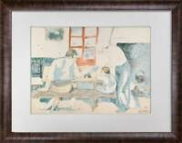 "Pablo PICASSO Lithograph LIMITED Edition ""Family at Supper"" SIGN w/Frame Incl."