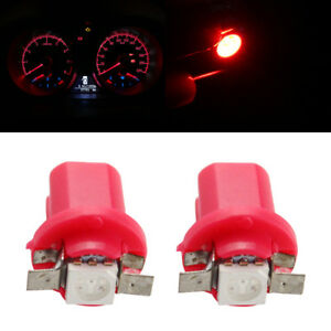 20Pcs B8.5 5050 1SMD Instrument Cluster Guage Speedometer Red LED Bulbs Light