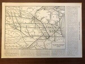 1917 Chicago, Milwaukee & St. Paul Railroad Map Encyclopedic Atlas and Gazetteer
