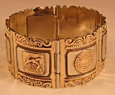 Vintage Mexico Sterling Mixed Metal Panel Bracelet