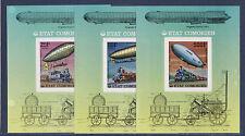 Comores   bloc  histoire des communications train zeppelin  avion 1977 lot de 3