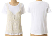 Anthropologie Layered Front Tee Small 2 4 Ivory Cotton Top Overlay Panel Shirt