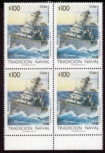 CHILE 1995 STAMP # 1700 MNH BLOCK OF FOUR NAVY BATTLESHIP