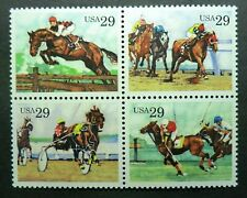 2756 - 2759 Mnh 1993 29c Sporting Horses Polo Steeplechase Harness Thoroughbred