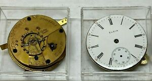2-Elgin Pocket Watch Movements, 18 Size, Key Wind - SELLING AS PARTS !!!!!