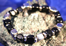 Black Onyx Square Cut Gemstone Bracelet Reiki, Crystal Healing in Gift Bag