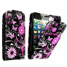 CASE FOR APPLE IPHONE 5 5S FLIP BLACK PINK BUTTERFLY AND FLOWER POUCH COVER