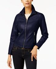 KENNETH COLE  Women's Faux Leather Moto Jacket Navy Blue Size Large