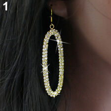 Women's HUGE Bling Oval Rhinestone Hoop Dangle Hip Hop Earrings Jewelry Fancy