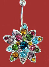 Navel belly Bar Ring Flashy Colorful Gem Large Flower