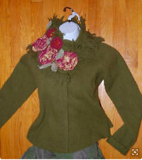 NWOT Vintage Anthropogie Sleeping on Snow Rosette Collar Cardigan Size S M