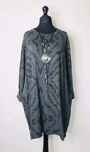 Made In Italy Lagenlook Charcoal Grey Pattern Tunic - UK Size 14 16 18 20