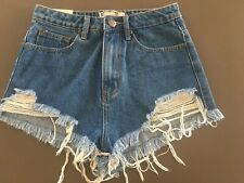 Ladies BOOHOO Blue Denim Shorts Size 8 High Waist Frayed Cut Offs