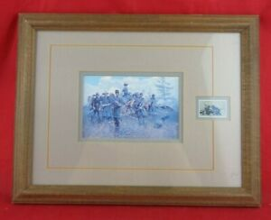 Gettysburg Civil War Centennial Framed And Matted Postage Stamp Art 1863-1963