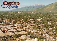 Aerial View of Ogden Utah, Mormon Temple, LDS, Street, Mountains etc. - Postcard