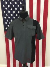 Harley Davidson Racing SYN3 Polo Shirt men's LARGE Biker Black Grey Stripe 17645