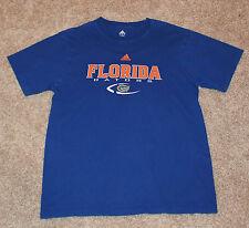 UNIVERSITY of FLORIDA GATORS T-SHIRT Men's L Large Blue Crewneck ADIDAS Cotton