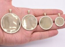 Round Medallion Picture Frame Memory CZ Charm Pendant Real SOLID 10K Yellow Gold