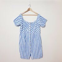 City Chic Womens Plus Size XL Blue White Striped Off Shoulder Full Button Dress