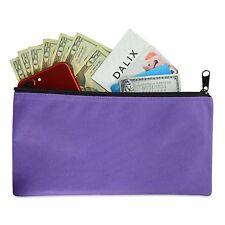 DALIX Zipper Money Bank Bag Pencil Pouch Makeup Travel Accessories Holder Purple