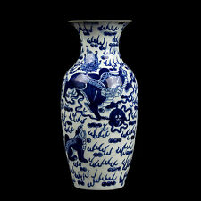 Cina 19.. JH Blu Bianco-A Chinese Blue & White oviform colonnine VASO chinois